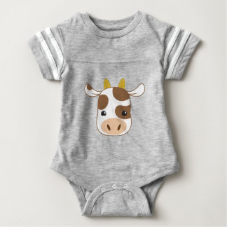 cute cow face baby bodysuit