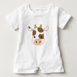 cute cow face baby romper