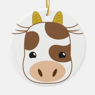 cute cow face ceramic ornament