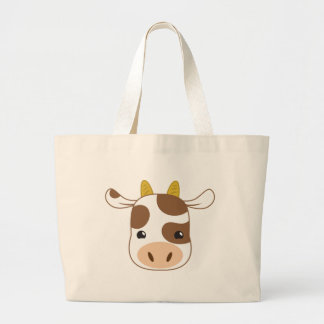 cute cow face large tote bag