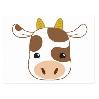 cute cow face postcard