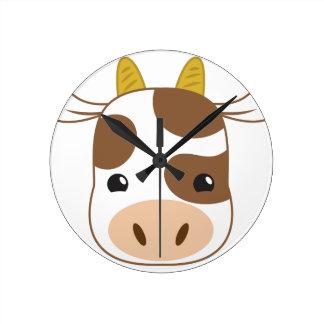 cute cow face round clock