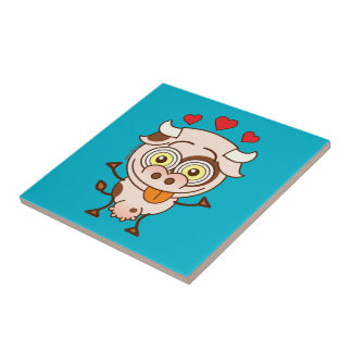 Cute cow falling madly in love tile