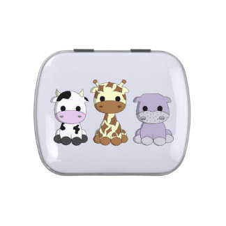 Cute cow giraffe hippo cartoon kids candy tin