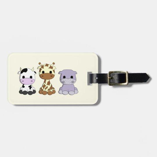 Cute cow giraffe hippo cartoon kids luggage tag