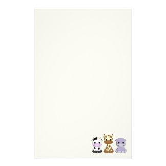 Cute cow giraffe hippo cartoon kids stationary stationery paper
