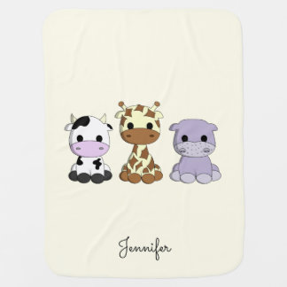 Cute cow giraffe hippo cartoon name baby blanket