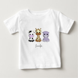 Cute cow giraffe hippo cartoon name baby shirt