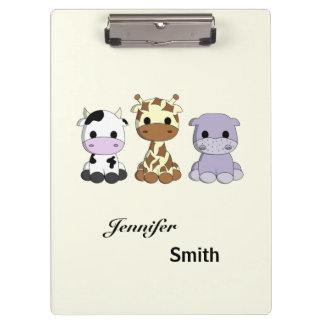 Cute cow giraffe hippo cartoon name kids clipboards