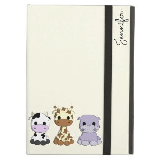 Cute cow giraffe hippo cartoon name kids iPad air cover