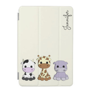 Cute cow giraffe hippo cartoon name kids ipad case iPad mini cover