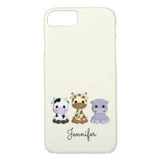 Cute cow giraffe hippo cartoon name kids iPhone 7 case