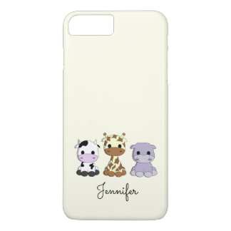 Cute cow giraffe hippo cartoon name kids iPhone 7 plus case