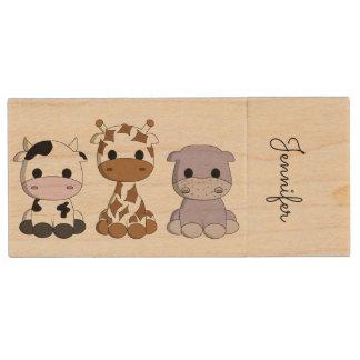 Cute cow giraffe hippo cartoon name kids usb drive wood USB 2.0 flash drive