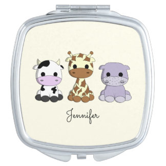 Cute cow giraffe hippo cartoon name mirror compact mirror
