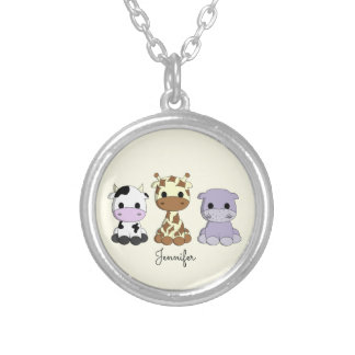 Cute cow giraffe hippo cartoon name necklace