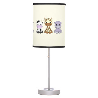 Cute cow giraffe hippo cartoon nursery lamp