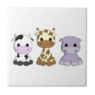 Cute cow giraffe hippo cartoon nursery tile