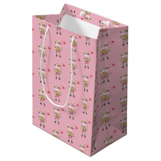 Cute cow in love pink Valentine's Day gift bag