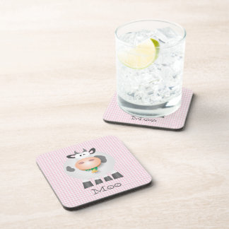 Cute Cow Moo And Pastel Pink Gingham Plaid Pattern Beverage Coaster