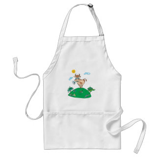 cute cow on hilltop standard apron