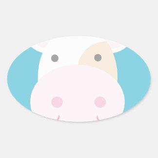 Cute Cow Oval Sticker