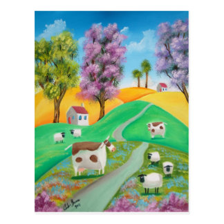 CUTE COW SHEEP FOLK ART PAINTING POSTCARD