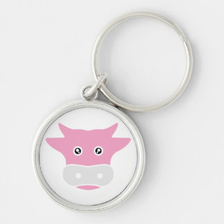 cute cow Silver-Colored round keychain