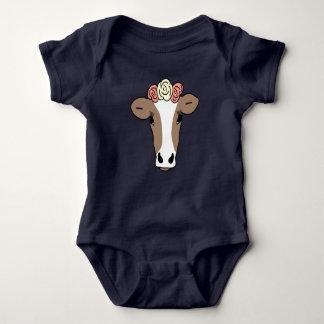 Cute Cow Wearing Flower Headband Baby Bodysuit