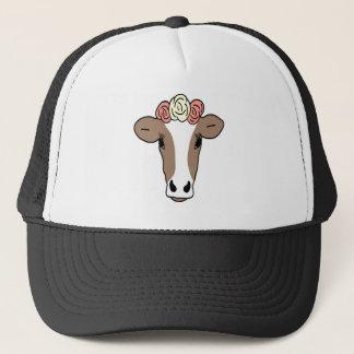 Cute Cow Wearing Flower Headband Trucker Hat