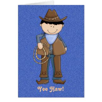 Cute Cowboy on Denim Birthday Card