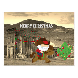 Cute Cowboy Santa Riding Horse Western Christmas Postcard