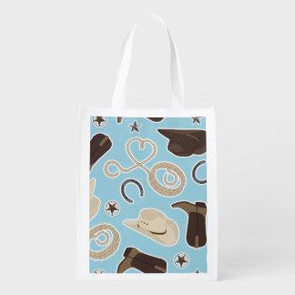 Cute Cowboy Theme Pattern Blue Grocery Bag