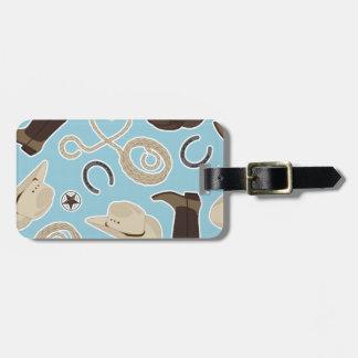 Cute Cowboy Theme Pattern Blue Luggage Tag