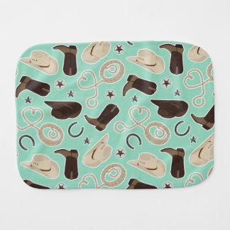 Cute Cowboy Theme Pattern Mint Baby Burp Cloths