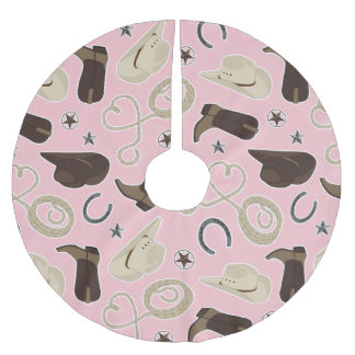 Cute Cowboy Theme Pattern Pink Brushed Polyester Tree Skirt