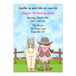 Horse birthday invitations announcements zazzle ca cute cowgirl and horse birthday invitation filmwisefo Choice Image