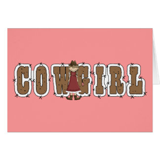 Cute Cowgirl  & Barb Wire - Country Western Blank Card