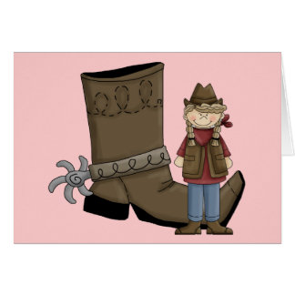 Cute Cowgirl Boots & Spurs - Country Western Blank Card
