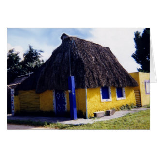 Cute Cozumel Thatched Roof Home Card
