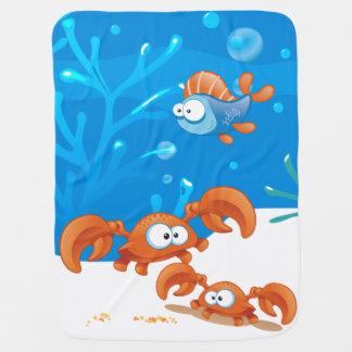 Cute Crab Ocean Aquatic Baby Blanket