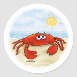 Cute crab on beach stickers