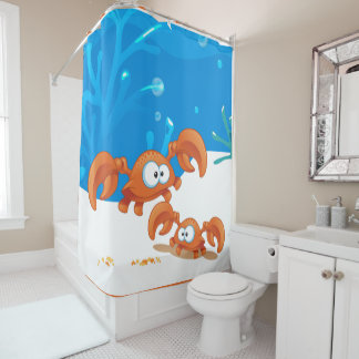 Cute Crabs Ocean Aquatic Crab Shower Curtain