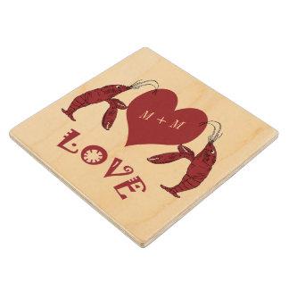 Cute Crawfish (lobster) Love Maple Wood Coaster