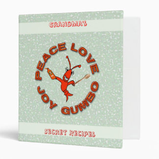 Cute Crawfish Peace Love Joy Gumbo Recipe Binder