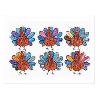Cute Crayon Turkeys Kids Art Postcard