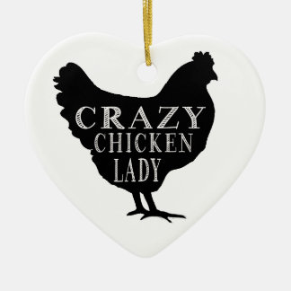 Cute Crazy Chicken Lady Ceramic Ornament