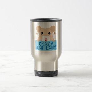 cute crazy rat lady cream travel mug