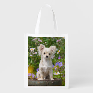 Cute cream Chihuahua Dog Puppy Pet Photo reuseable Reusable Grocery Bag
