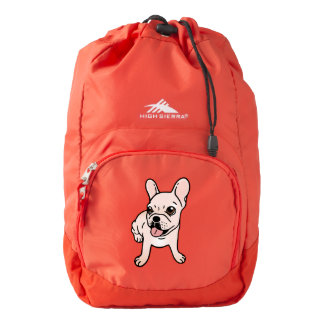 Cute cream Frenchie is ready to play Backpack